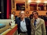 Andrea da Montefeltro e Vittorio Sgarbi(Urbino gennaio 2014)..